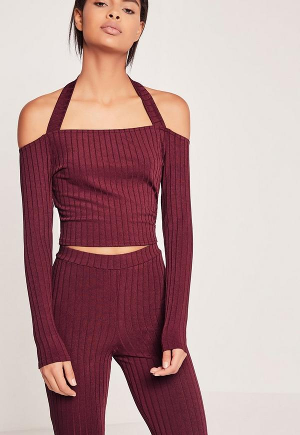 Ribbed Supported Bardot Crop Top Burgundy