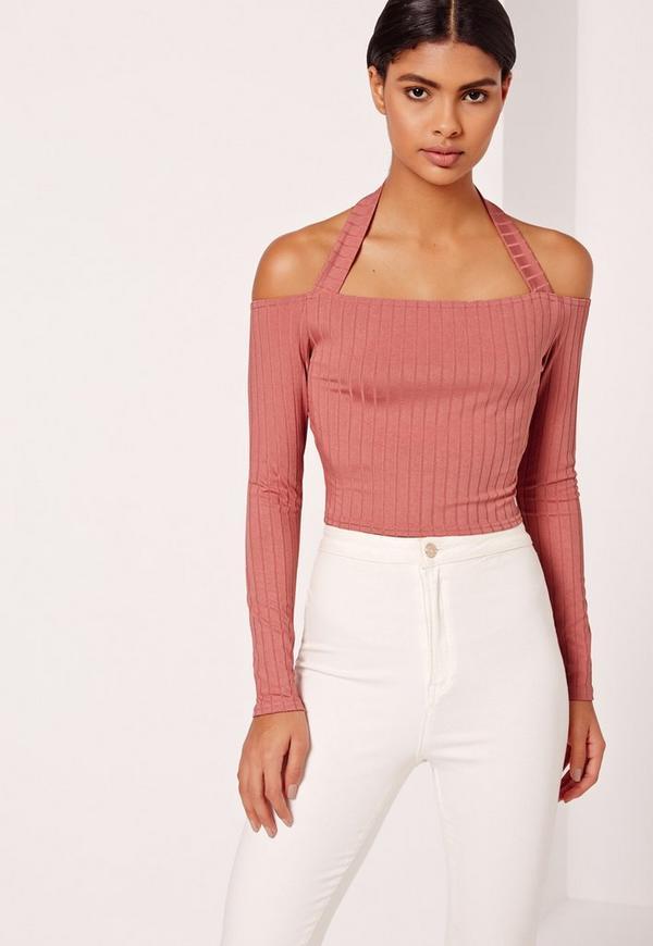 Ribbed Supported Bardot  Pink