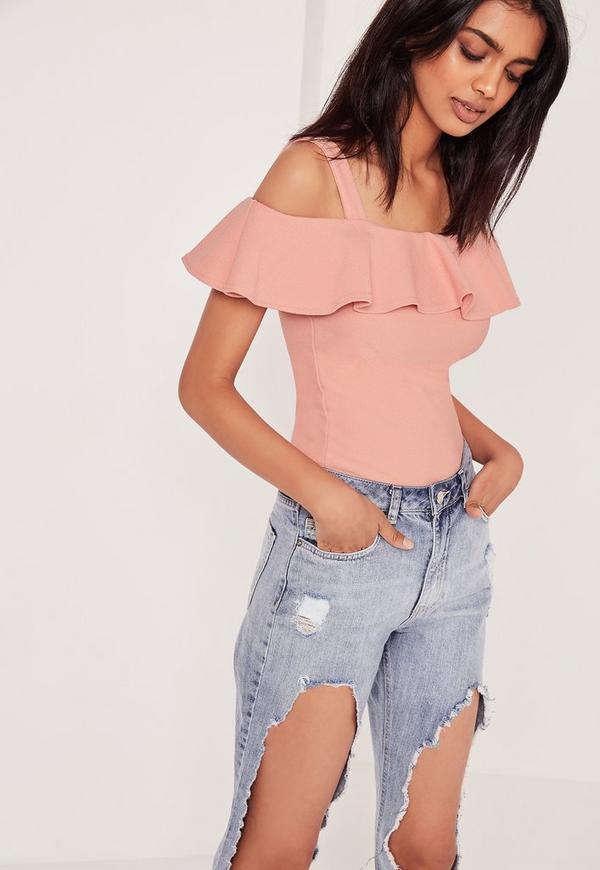 Frill Bardot Strap Top Pink