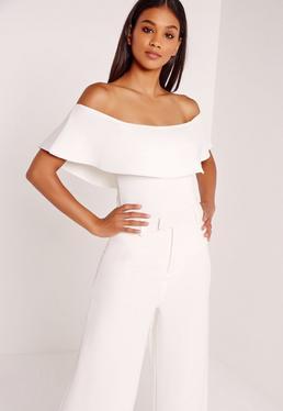 Scuba Bardot Bodysuit White