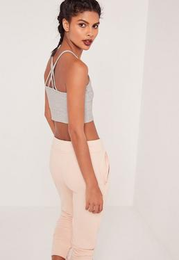 Cross Back Strap Ribbed Crop Top Grey