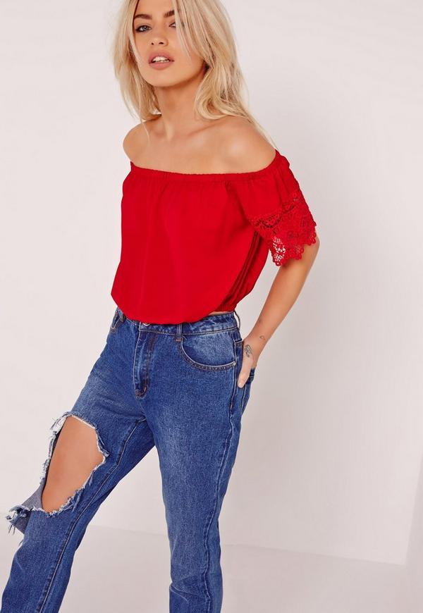 Lace Trim Detail Bardot Crop Top Red