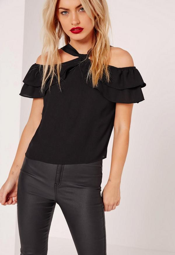 Cold Shoulder Frill Crop Top Black