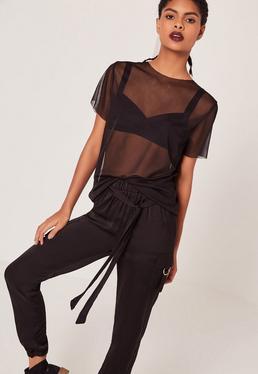 Raw Edge Mesh T-Shirt Black