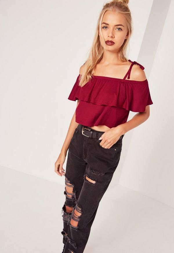 Frill Layered Strappy Crop Top Burgundy