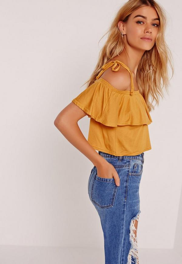 frill layered strappy crop top yellow-16