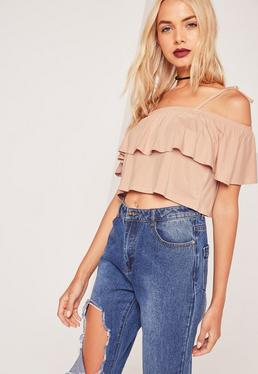 Frill Layered Strappy Crop Top Nude