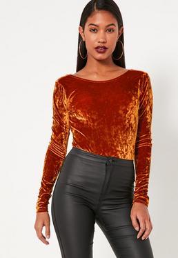 Orange Crushed Velvet Scoop Back Bodysuit