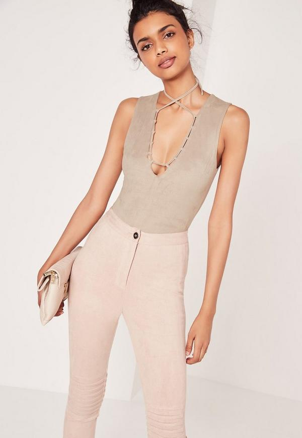 Faux Suede V Neck Lace Up Bodysuit Grey