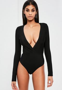 Peace + Love Black Bandage Plunge Neck Bodysuit