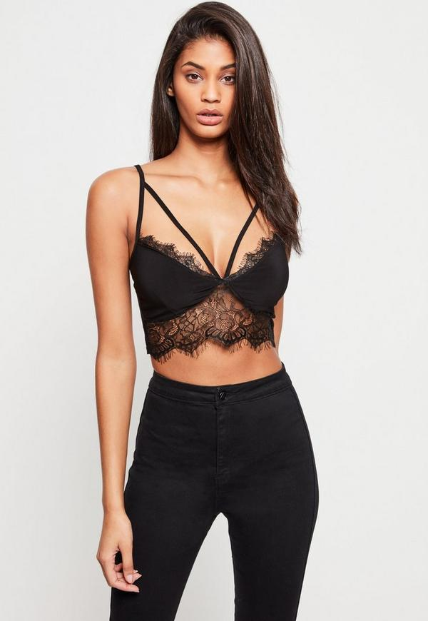 Black Harness Lace Trim Bralet