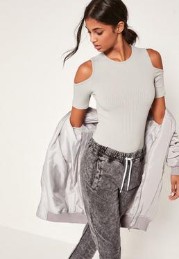 Grey Ribbed Cold Shoulder Long Sleeve Bodysuit