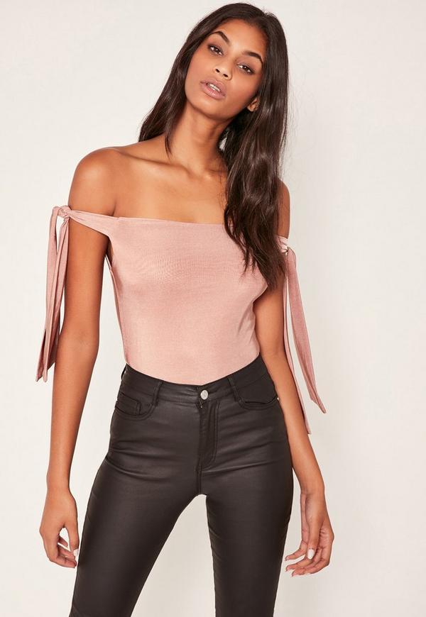 Pink Tie Side Slinky Bardot Bodysuit