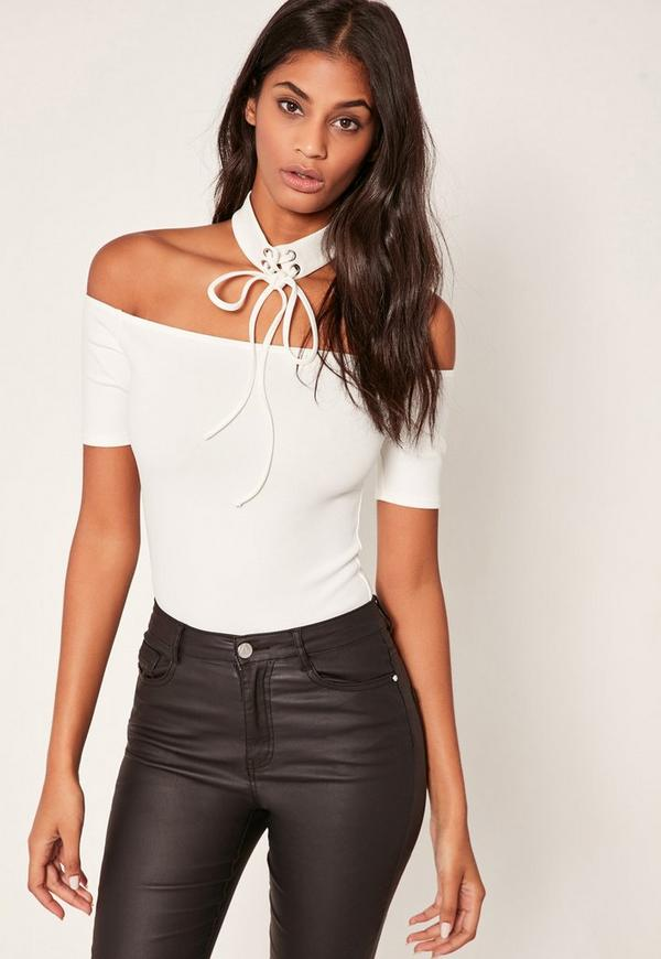 White Lace Up Choker Bardot Bodysuit