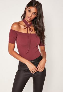 Purple Lace Up Choker Bardot Bodysuit