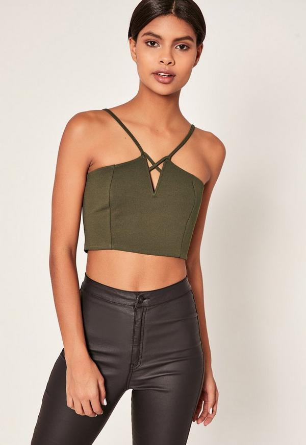 Khaki V Neck Strappy Crop Top