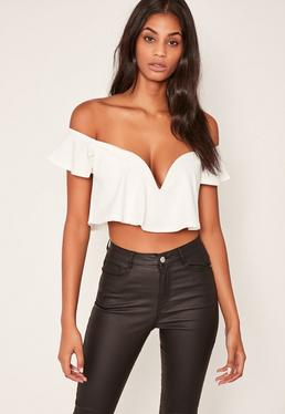 White Sweetheart Frill Bardot Crop Top
