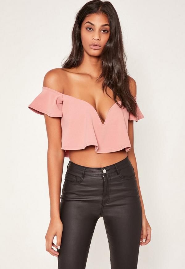 Pink Sweetheart Frill Bardot Crop Top