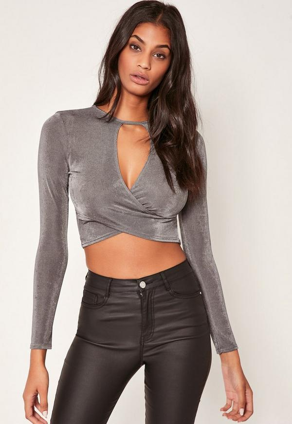 Grey Slinky Wrap Long Sleeve Crop Top