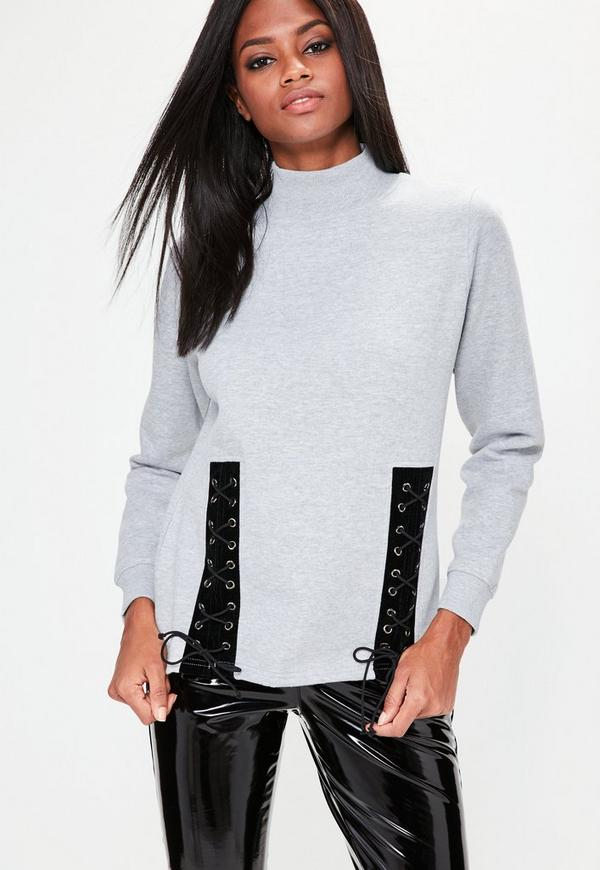 Grey Lace Up Front Sweatshirt