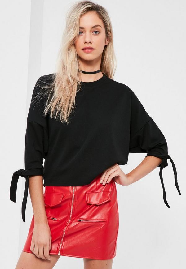 Black Tie Cuff Sweatshirt