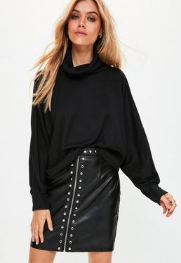 Black Roll Neck Batwing Sweatshirt