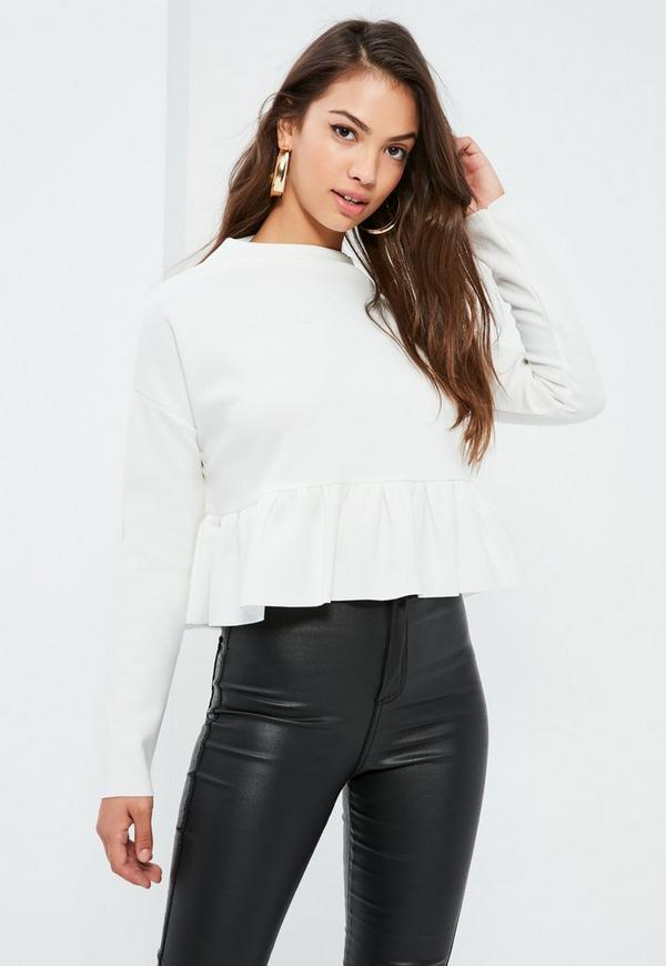 White Frill Hem Scuba Sweatshirt
