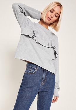Grey Frill Front Sweatshirt