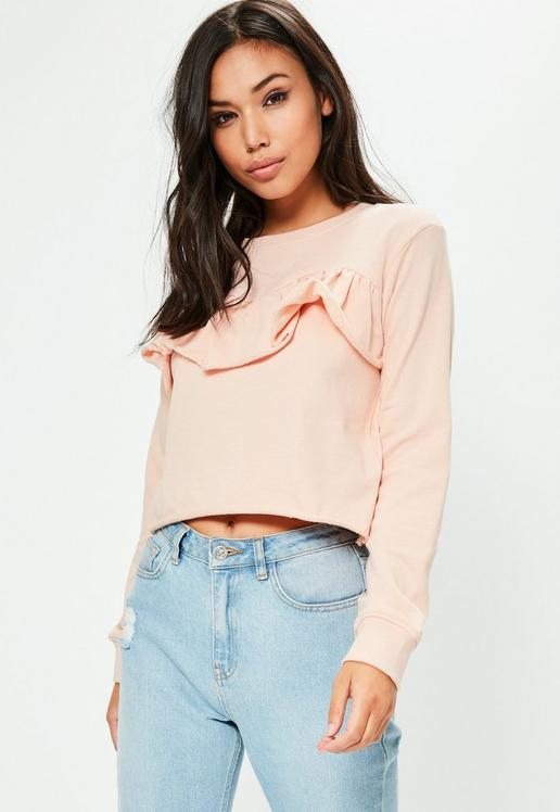 MISSGUIDED Sweat rose à froufrous 15€