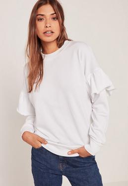 White Frill Sleeve Sweatshirt