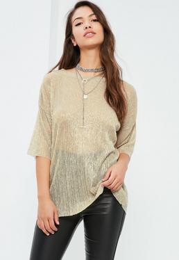 Gold Pleated Metallic T Shirt
