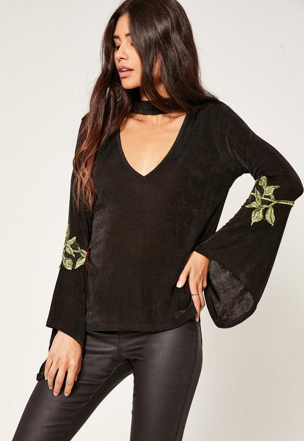 Black Choker Neck Applique Flared Sleeve Top