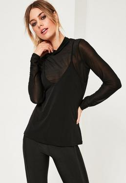 Black 2 in 1 Roll Neck Top