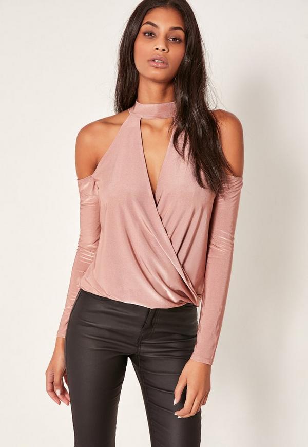 Pink Choker Neck Cold Shoulder Wrap Top