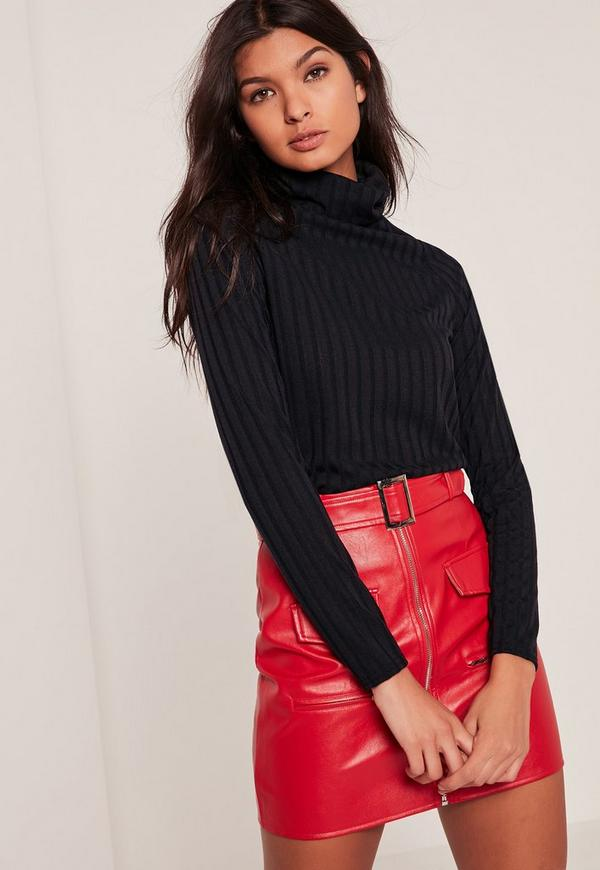 Black Ribbed Roll Neck Long Sleeve Top