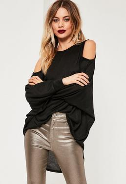 Black Cold Shoulder Oversized Tunic