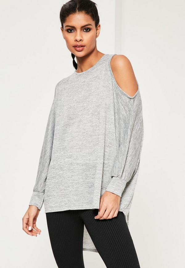 Grey Cold Shoulder Oversized Tunic