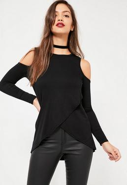 Black Cold Shoulder Wrap Front Tunic
