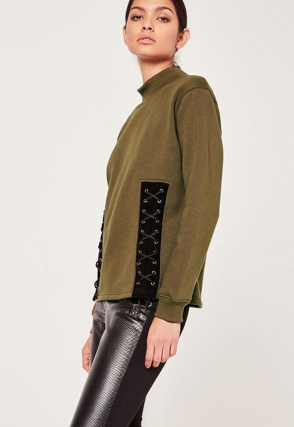 Lace Up Front Sweatshirt Khaki