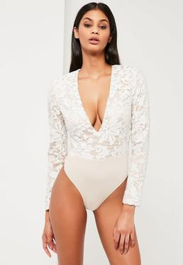 Peace + Love White Plunge Neck Bodysuit
