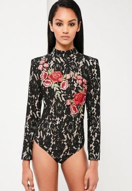 Peace + Love Black Lace Rose Bodysuit