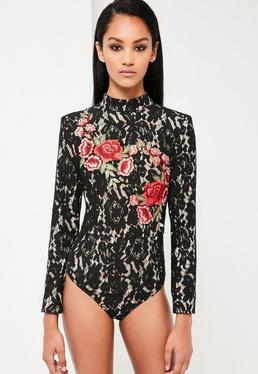Peace + Love Black Lace Rose Bodysuit