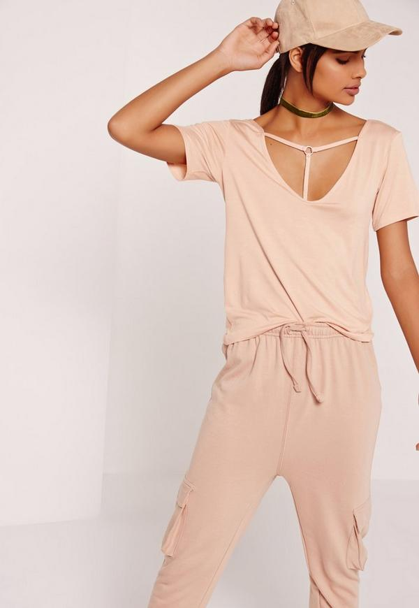 T Bar Harness Front T Shirt Nude