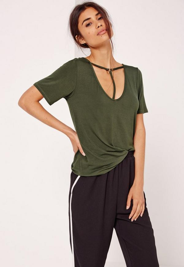 T Bar Harness Front T Shirt Khaki