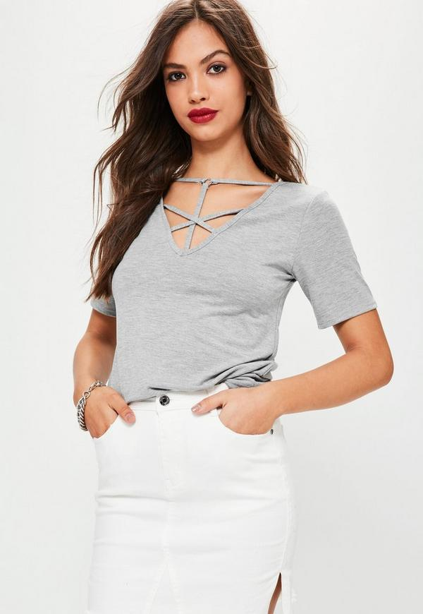 Cross front Harness Ring Detail T Shirt Grey Marl