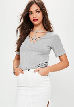 T shirt gris lacets croisés