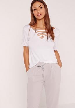 Lace Up Detail V Neck T Shirt White