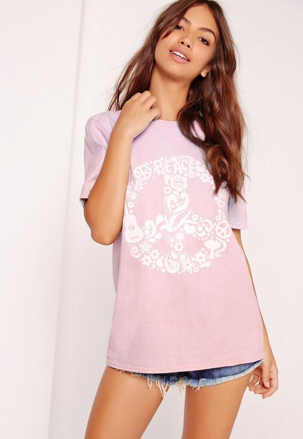 Peace Slogan Colour Change T Shirt Purple