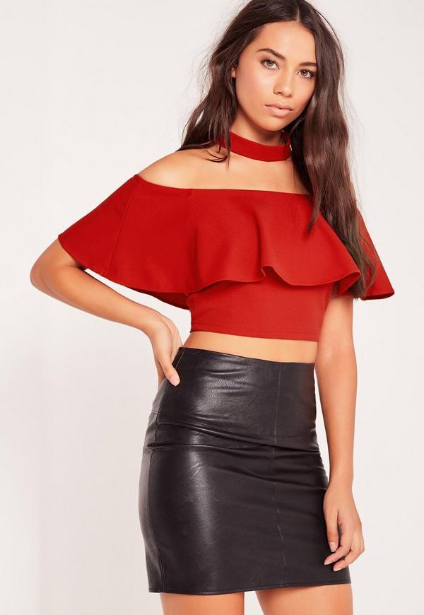 Choker Neck Frill Bardot Crop Top Red