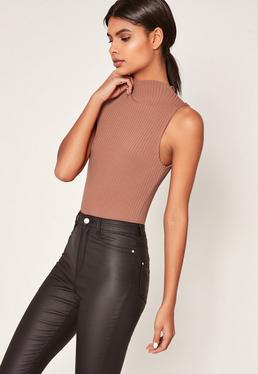 Rose Pink Ribbed High Neck Bodysuit
